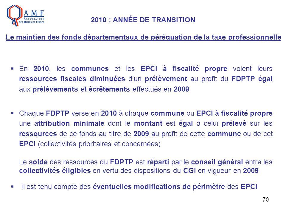2010 : ANNÉE DE TRANSITION Le maintien des fonds départementaux de péréquation de la taxe professionnelle
