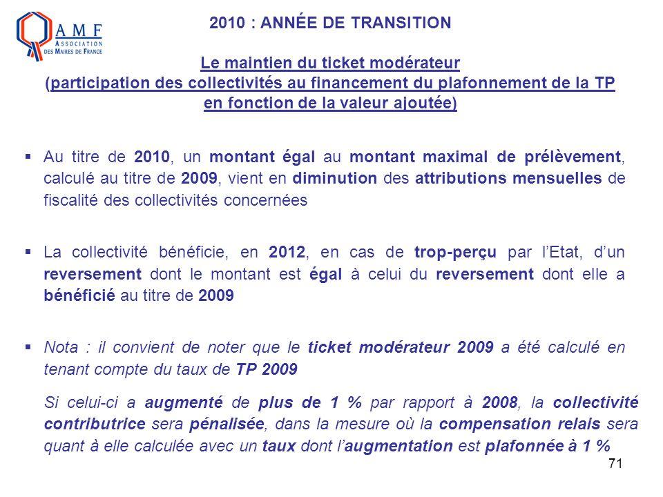 2010 : ANNÉE DE TRANSITION Le maintien du ticket modérateur (participation des collectivités au financement du plafonnement de la TP en fonction de la valeur ajoutée)