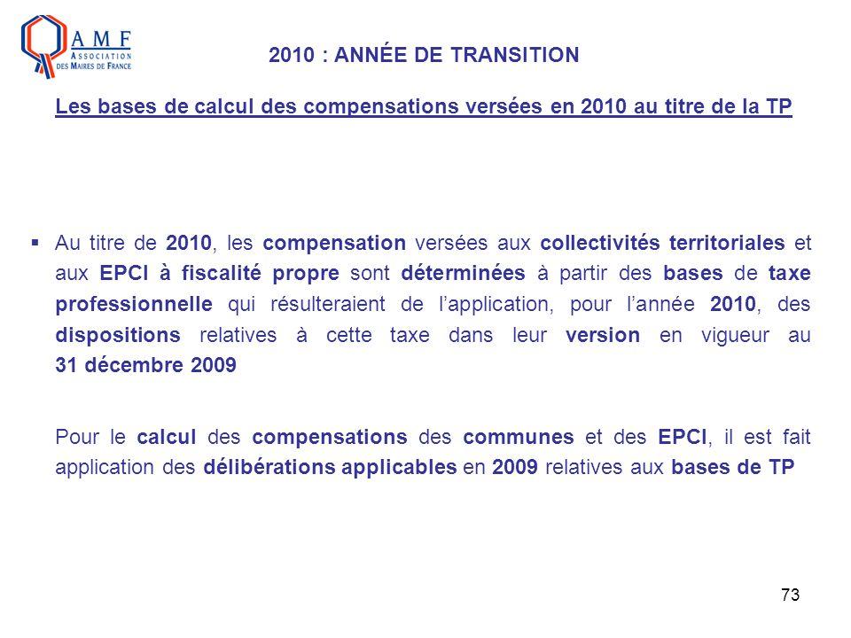 2010 : ANNÉE DE TRANSITION Les bases de calcul des compensations versées en 2010 au titre de la TP