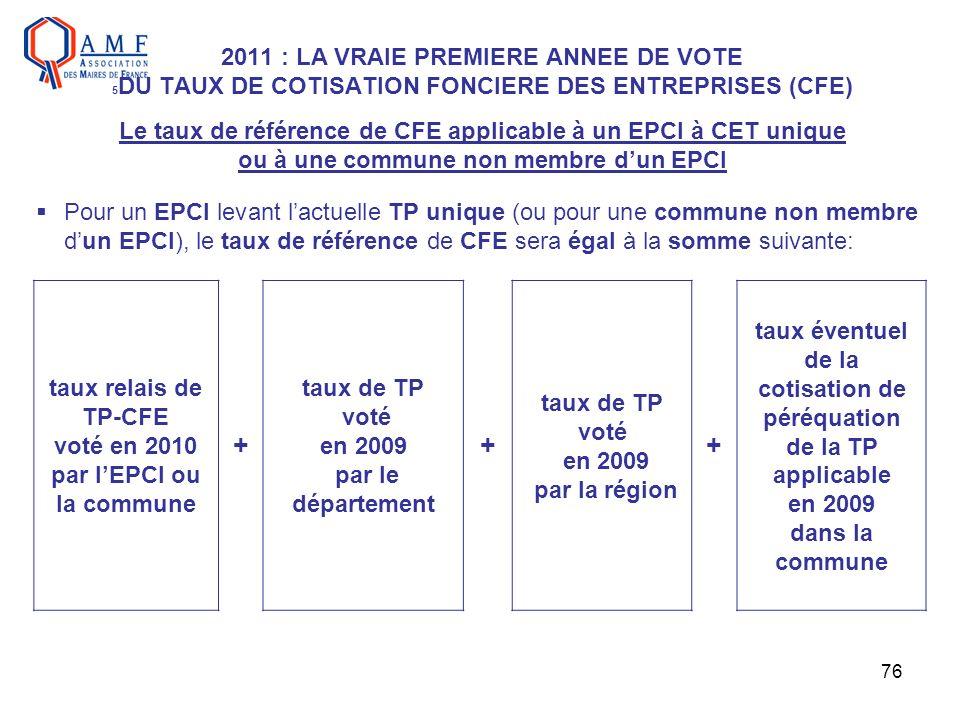 2011 : LA VRAIE PREMIERE ANNEE DE VOTE 5DU TAUX DE COTISATION FONCIERE DES ENTREPRISES (CFE) Le taux de référence de CFE applicable à un EPCI à CET unique ou à une commune non membre d'un EPCI