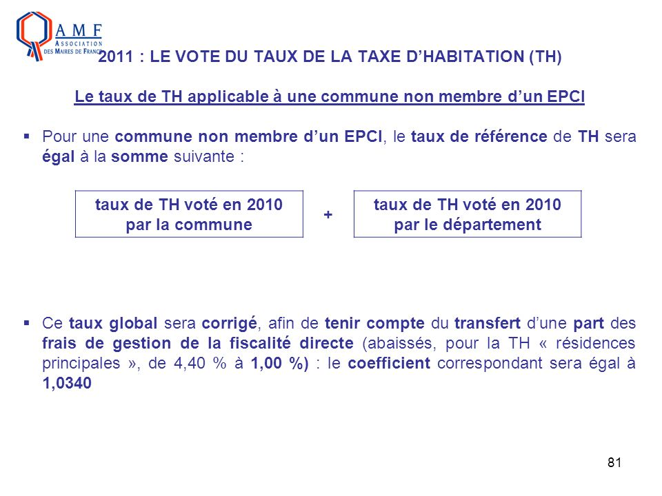 taux de TH voté en 2010 par le département