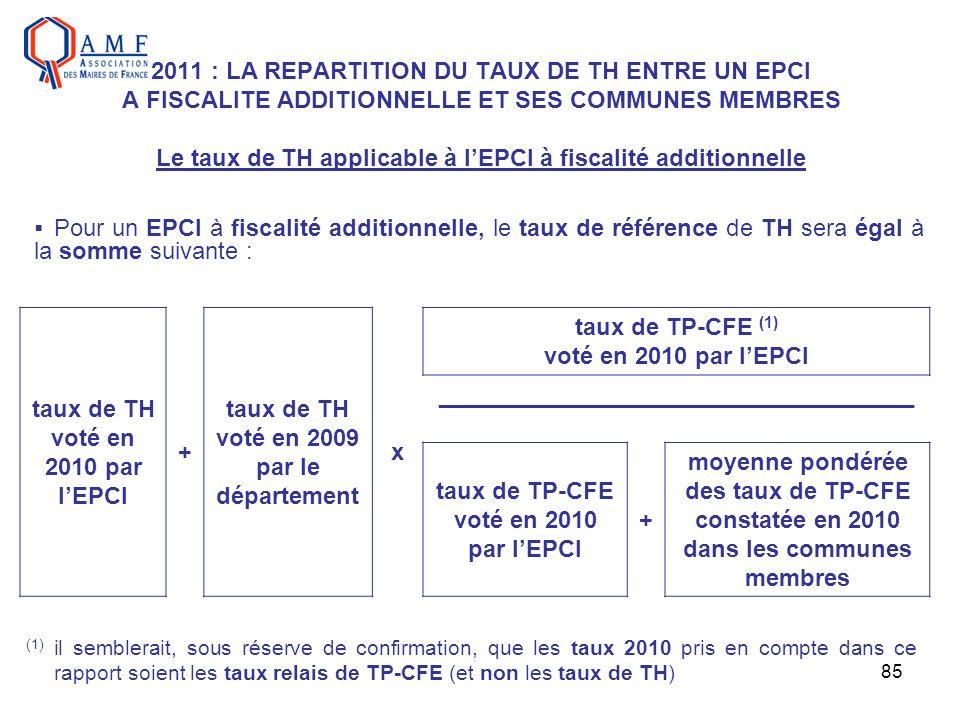 taux de TH voté en 2010 par l'EPCI + taux de TH