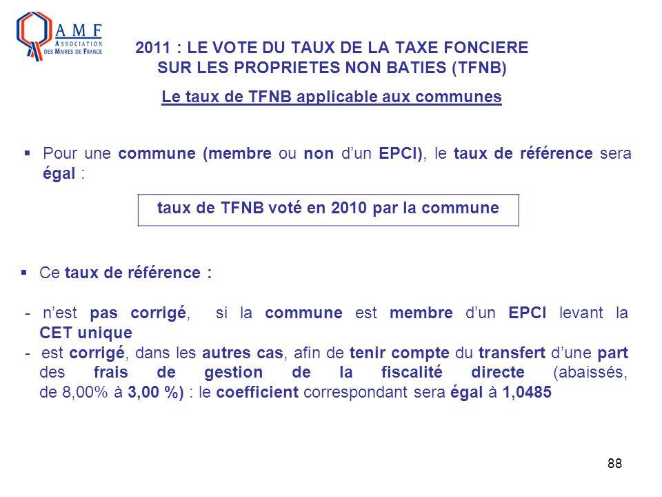 taux de TFNB voté en 2010 par la commune