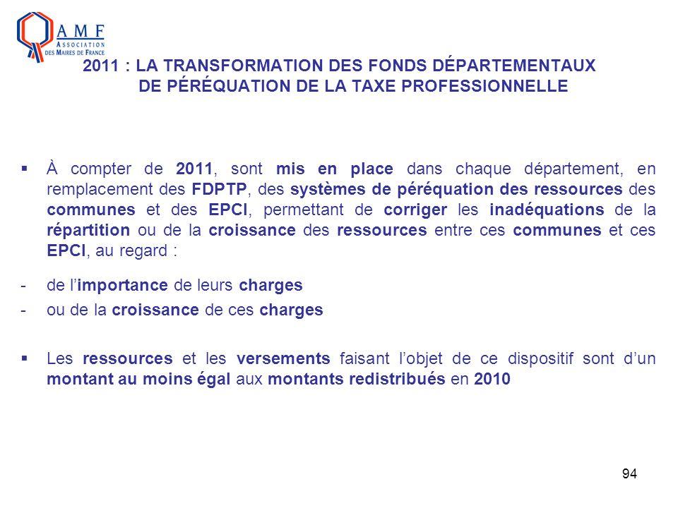 2011 : LA TRANSFORMATION DES FONDS DÉPARTEMENTAUX DE PÉRÉQUATION DE LA TAXE PROFESSIONNELLE