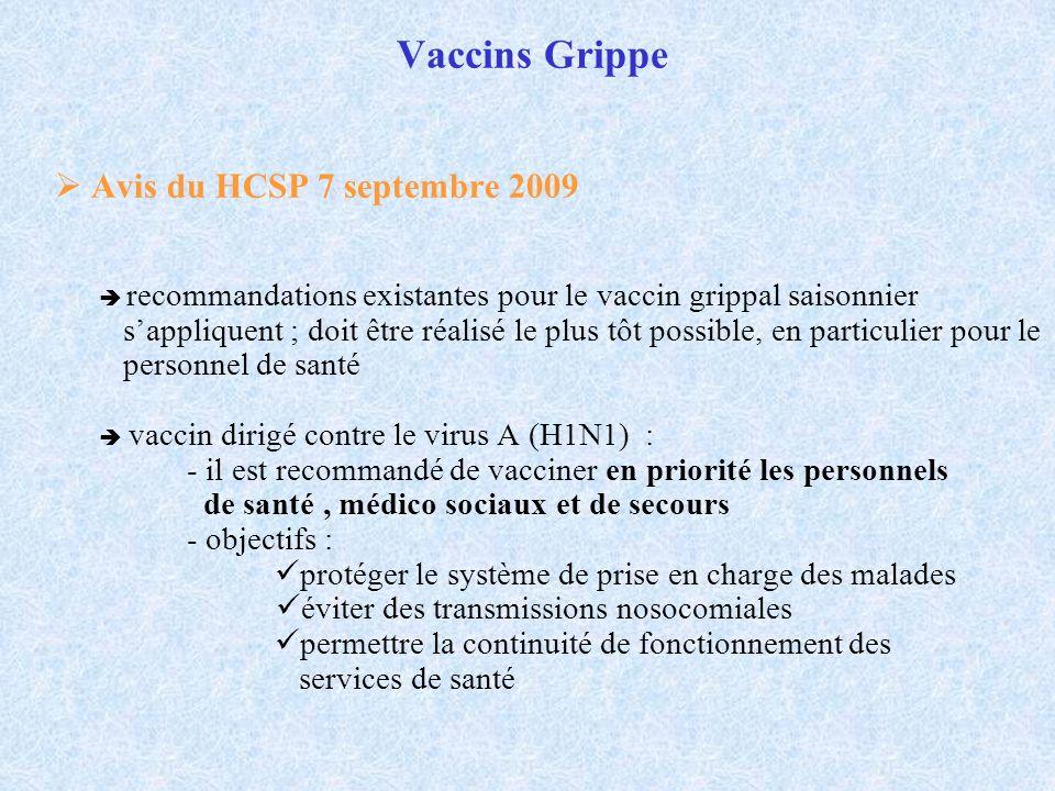 Vaccins Grippe  Avis du HCSP 7 septembre 2009