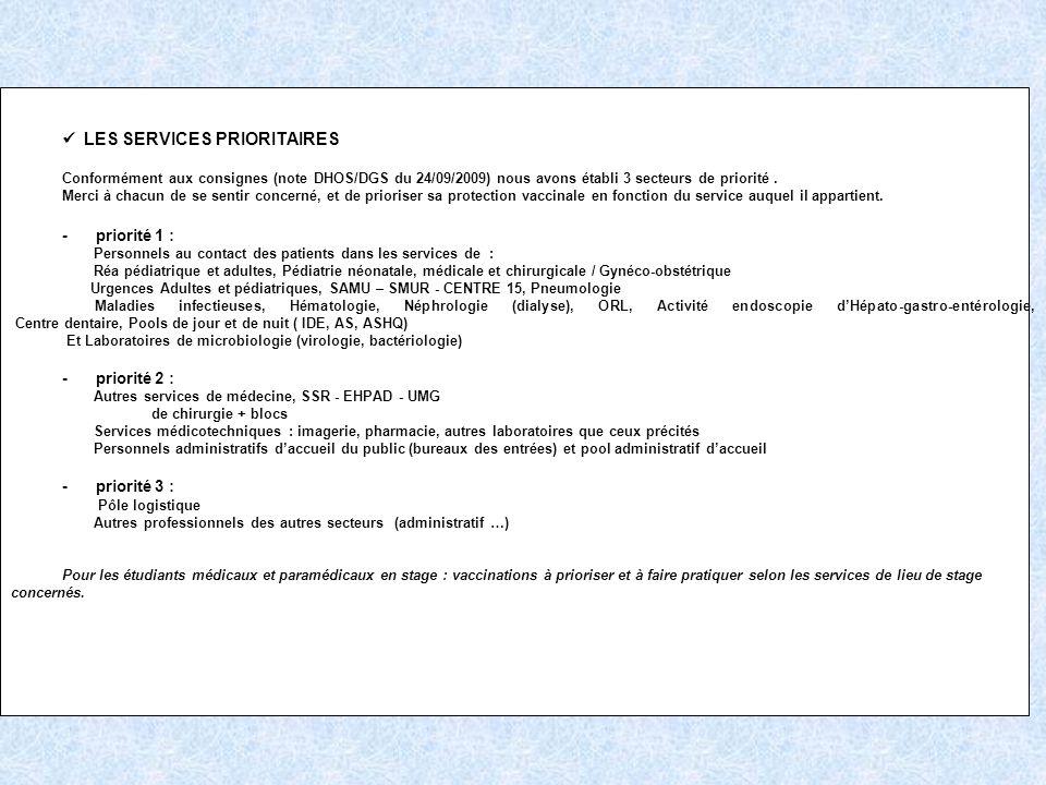  LES SERVICES PRIORITAIRES - priorité 1 : - priorité 2 :