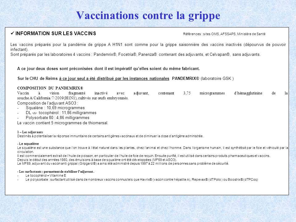 Vaccinations contre la grippe