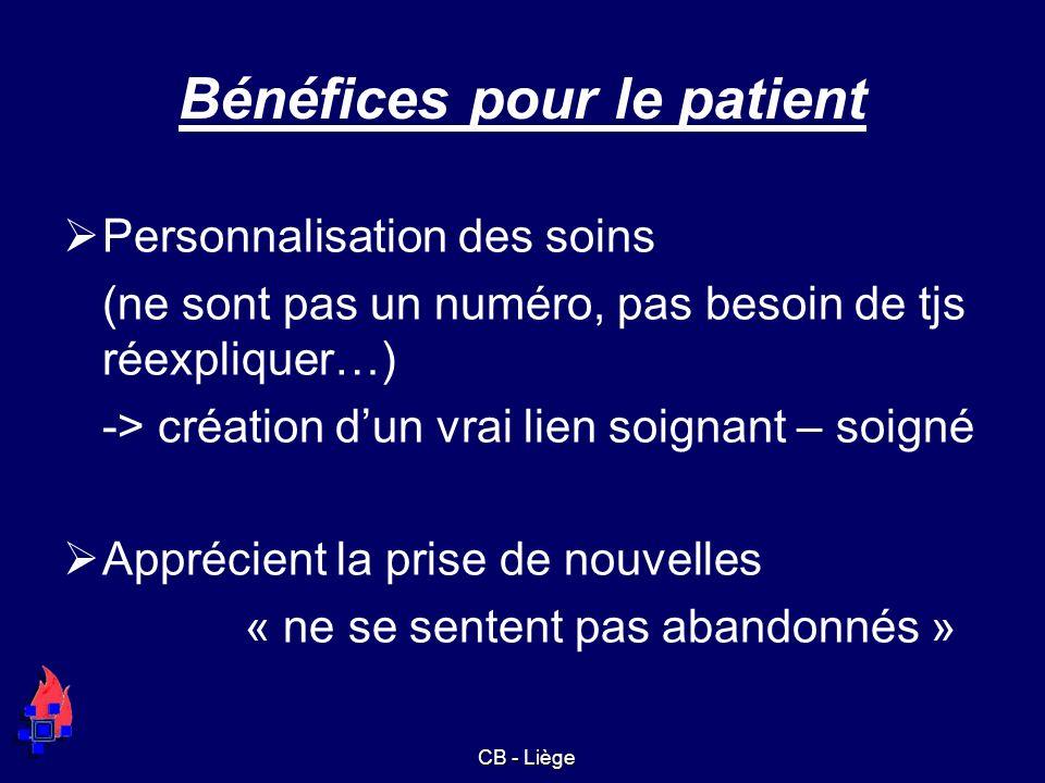 Bénéfices pour le patient