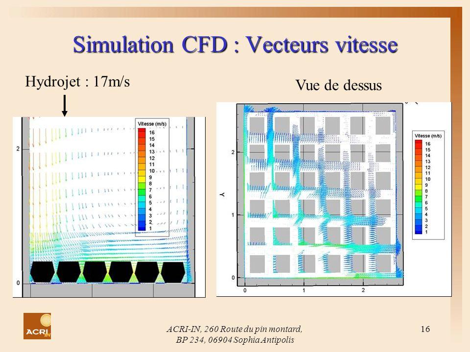 Simulation CFD : Vecteurs vitesse