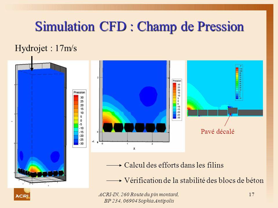 Simulation CFD : Champ de Pression
