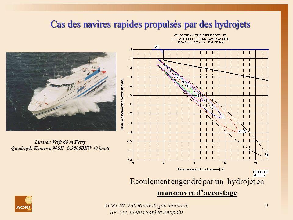 Cas des navires rapides propulsés par des hydrojets