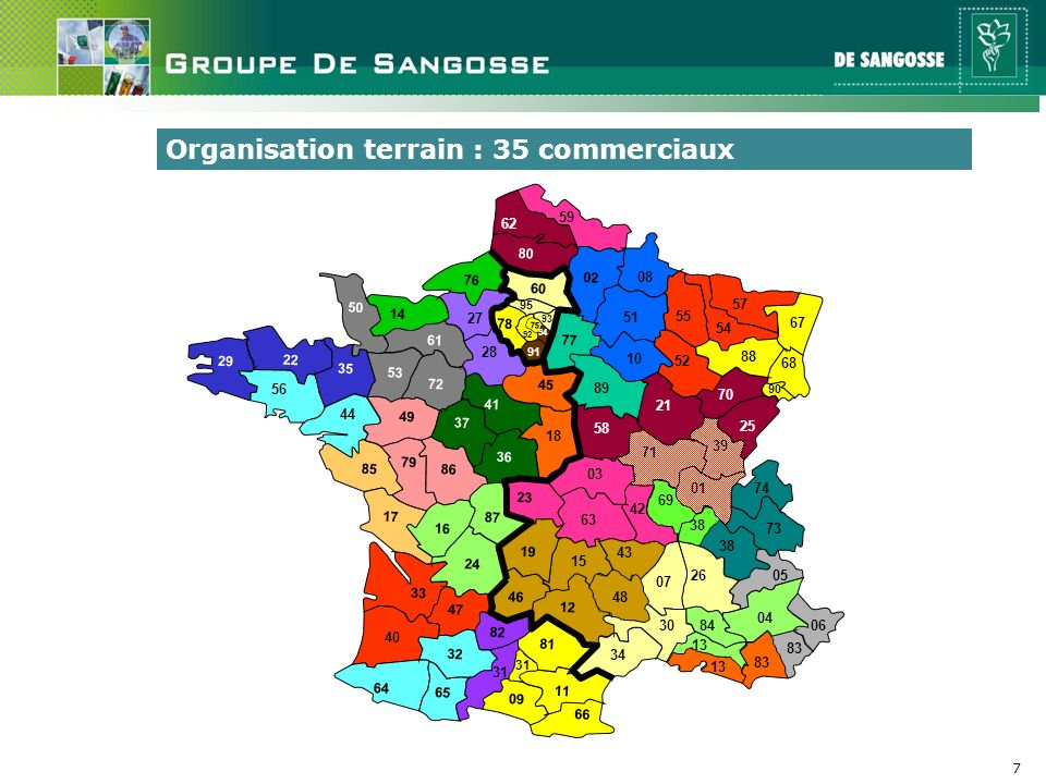Organisation terrain : 35 commerciaux