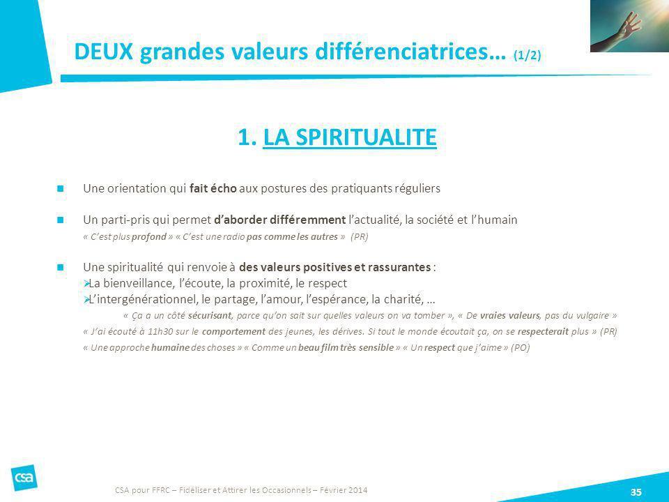 DEUX grandes valeurs différenciatrices… (1/2)