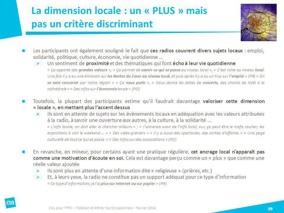 La dimension locale : un « PLUS » mais pas un critère discriminant