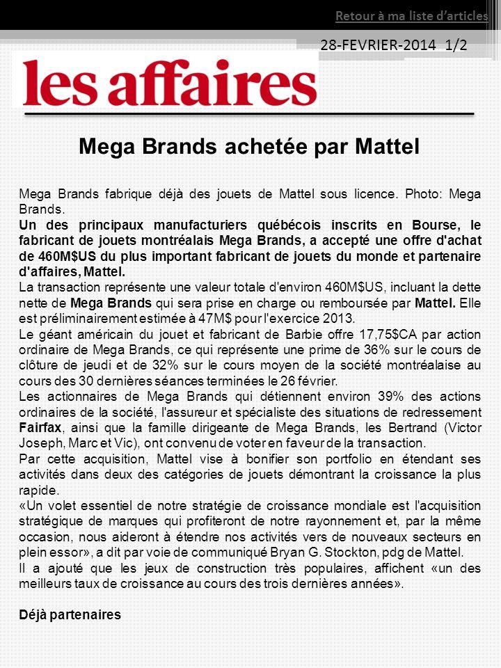 Mega Brands achetée par Mattel