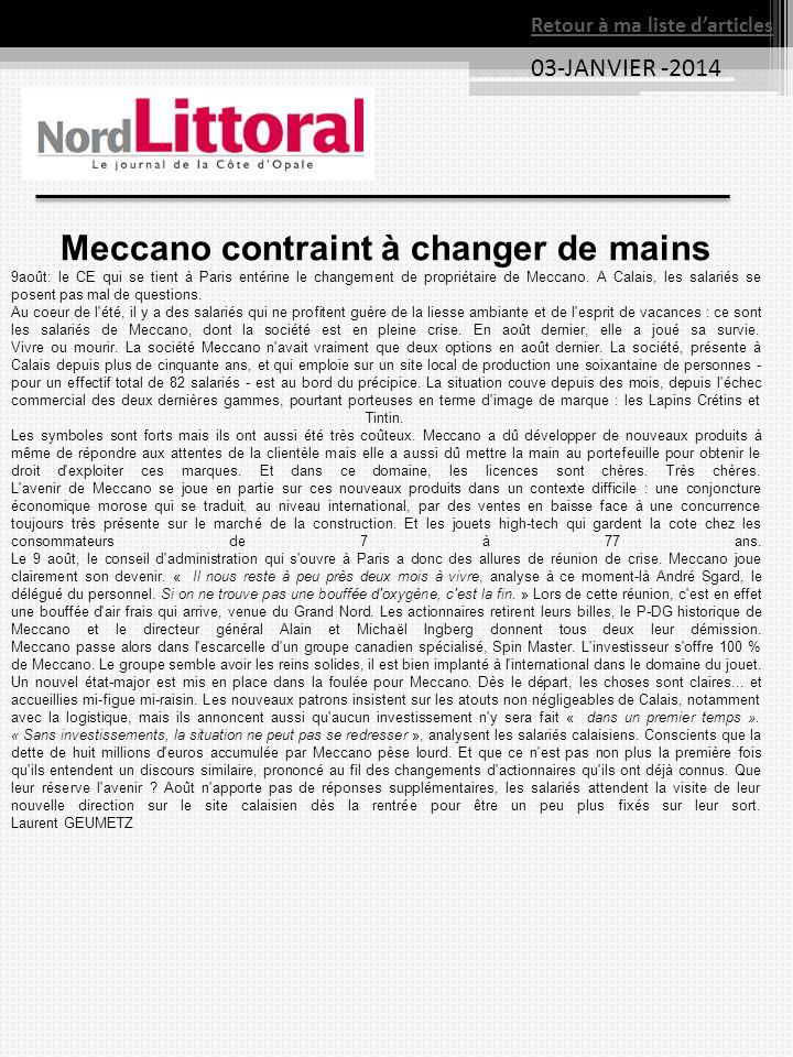 Meccano contraint à changer de mains