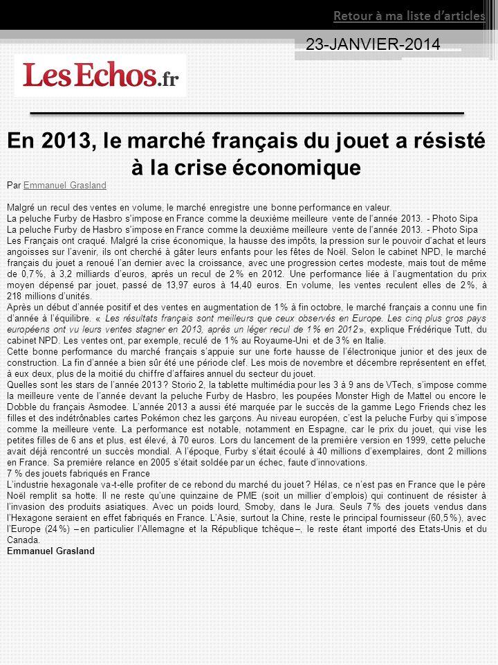 En 2013, le marché français du jouet a résisté à la crise économique