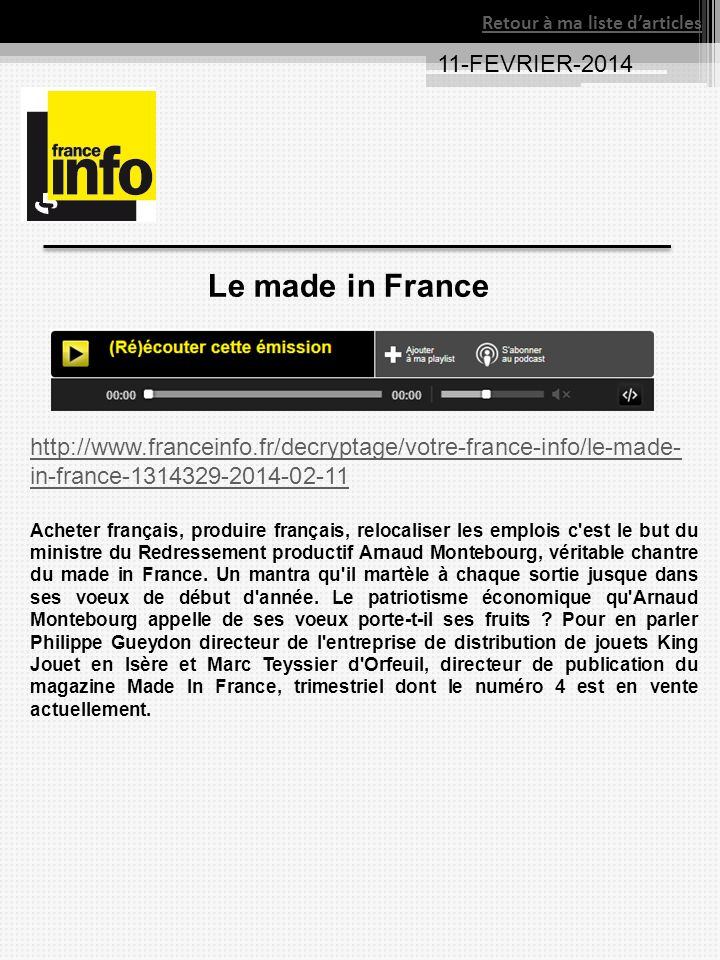 Le made in France 11-FEVRIER-2014