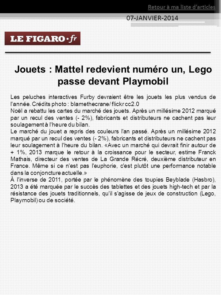 Jouets : Mattel redevient numéro un, Lego passe devant Playmobil