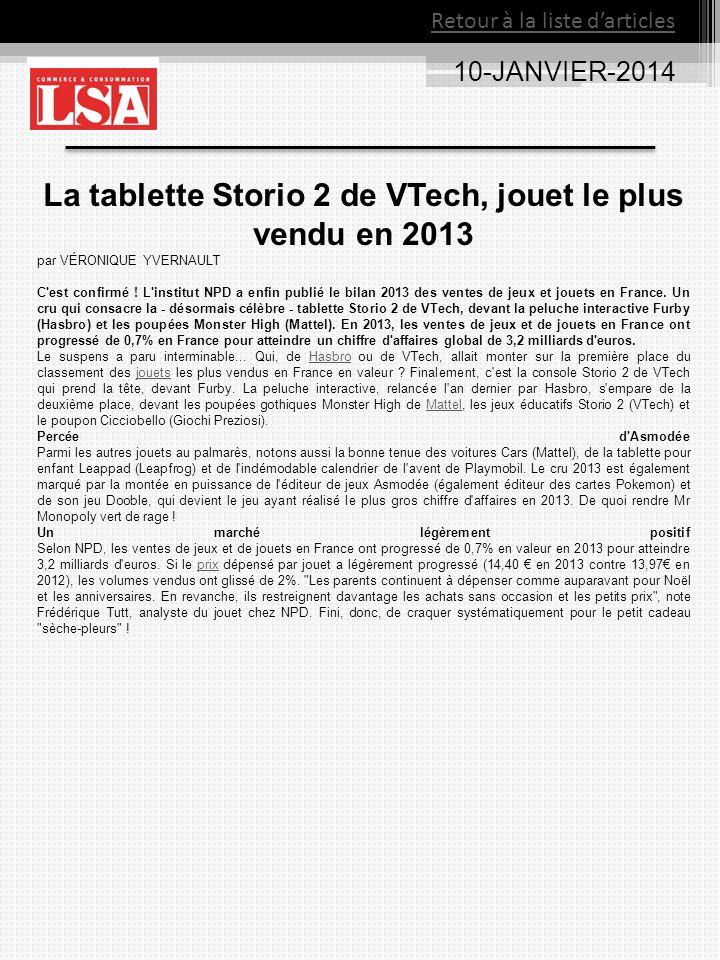 La tablette Storio 2 de VTech, jouet le plus vendu en 2013
