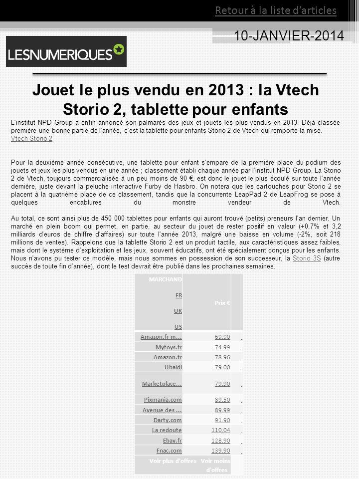 Jouet le plus vendu en 2013 : la Vtech Storio 2, tablette pour enfants