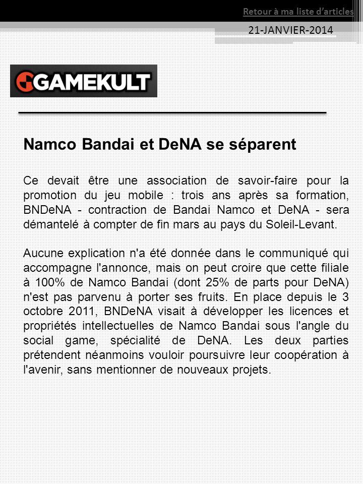 Namco Bandai et DeNA se séparent