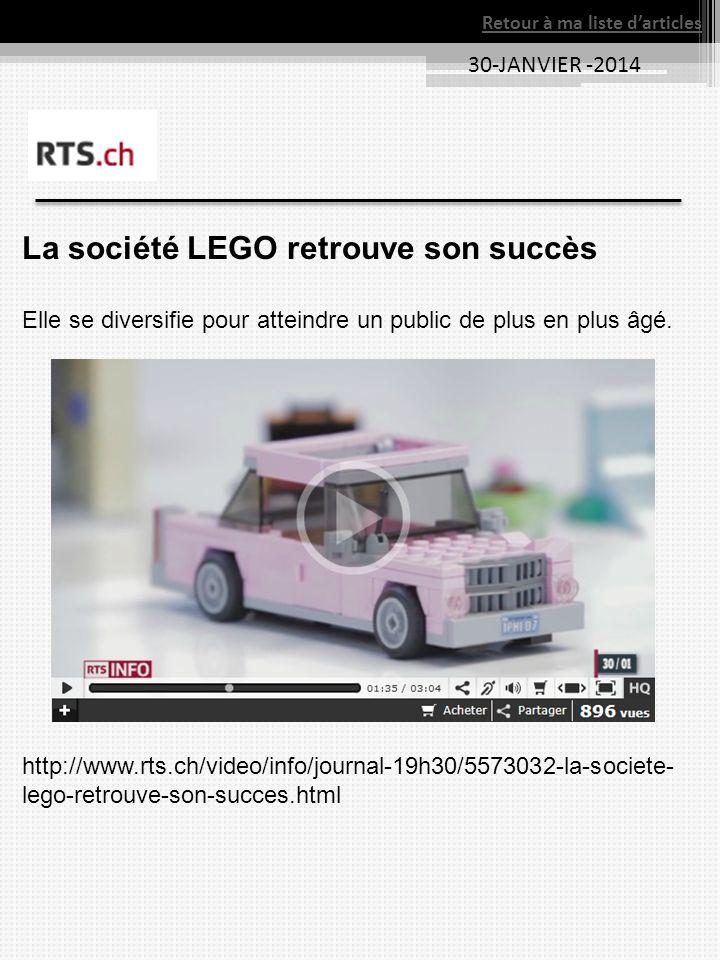La société LEGO retrouve son succès