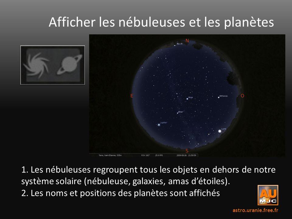 Afficher les nébuleuses et les planètes