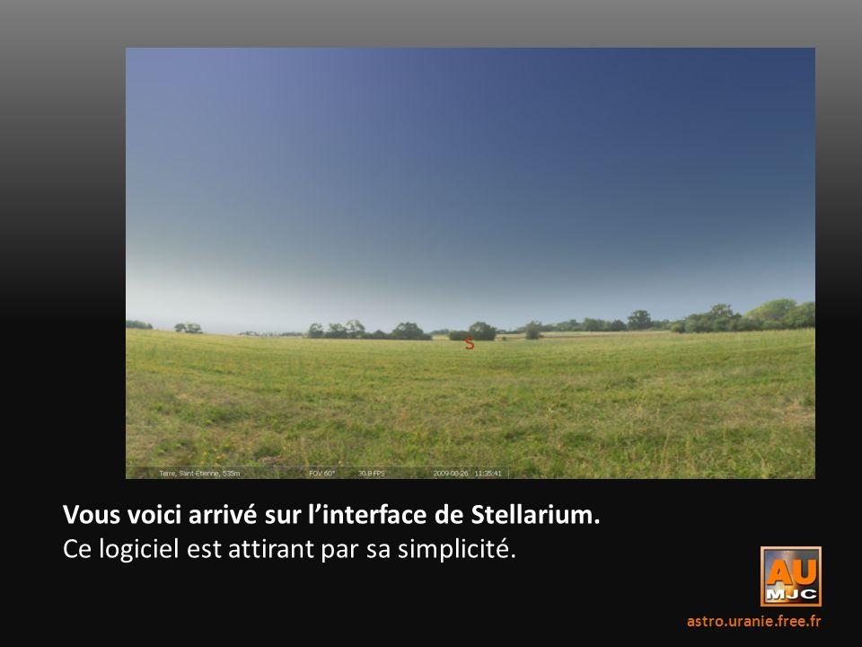 Vous voici arrivé sur l'interface de Stellarium.