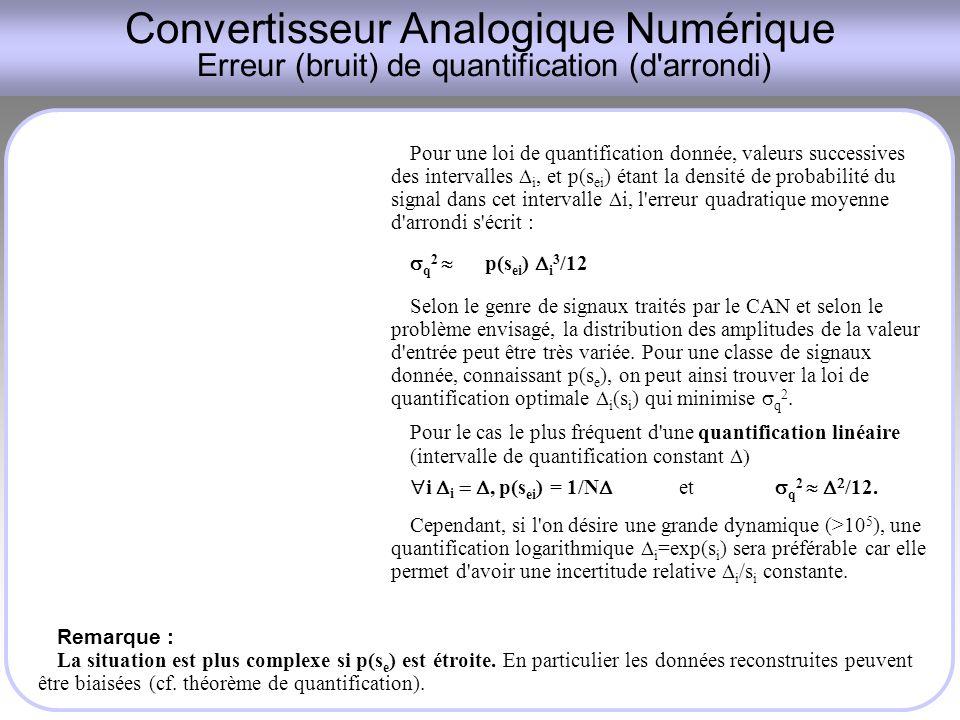 Convertisseur Analogique Numérique Erreur (bruit) de quantification (d arrondi)