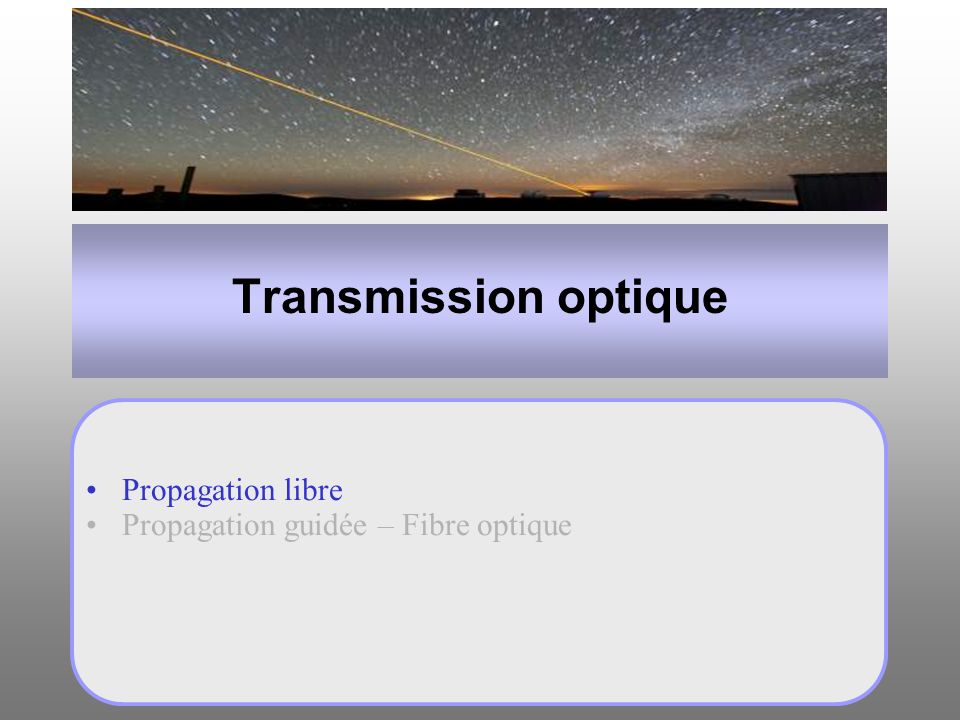 Transmission optique Propagation libre