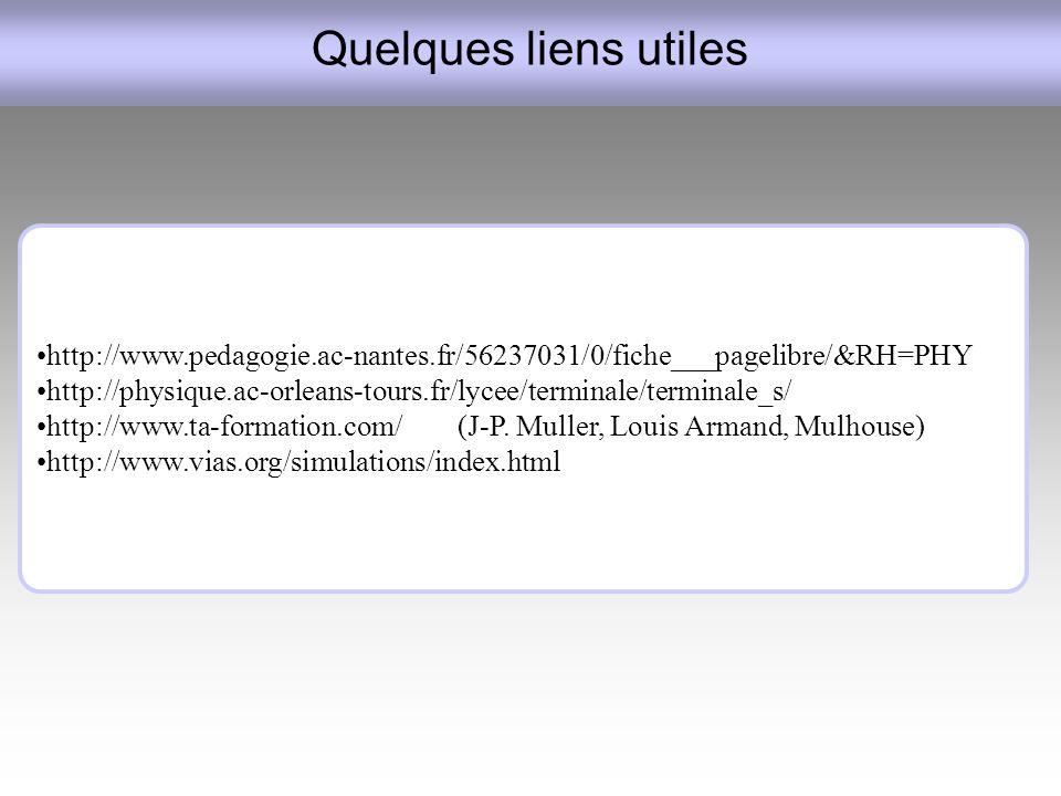 Quelques liens utiles http://www.pedagogie.ac-nantes.fr/56237031/0/fiche___pagelibre/&RH=PHY.