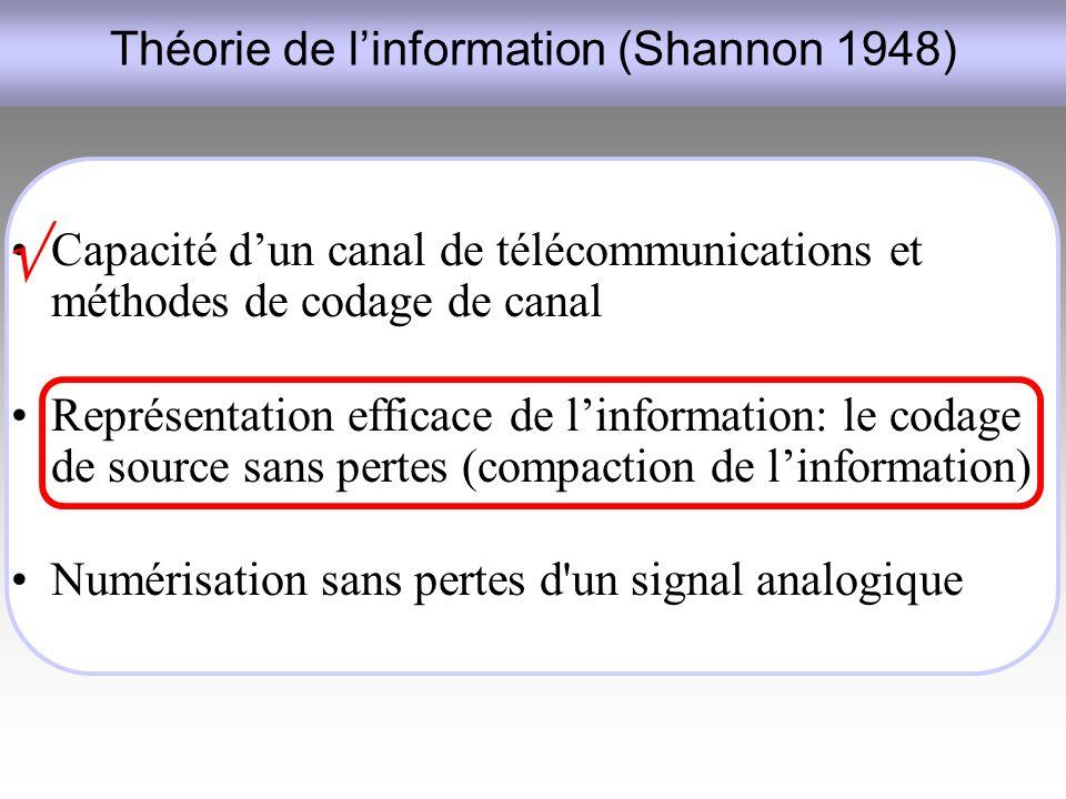 Théorie de l'information (Shannon 1948)