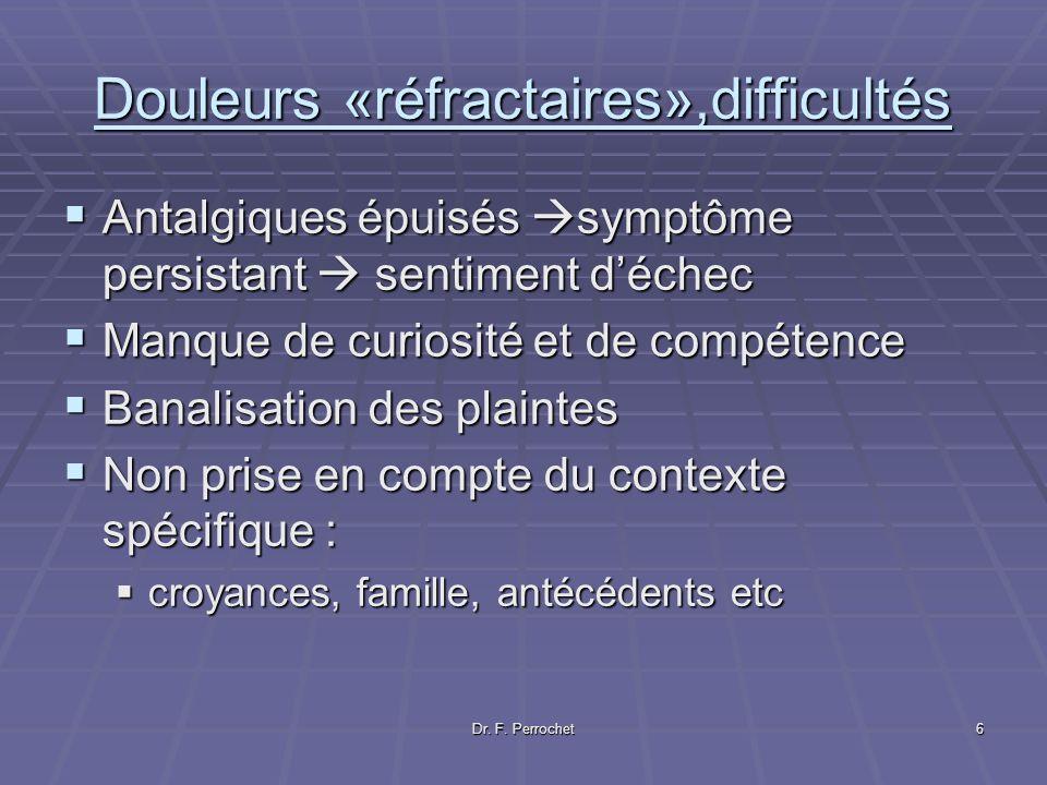 Douleurs «réfractaires»,difficultés