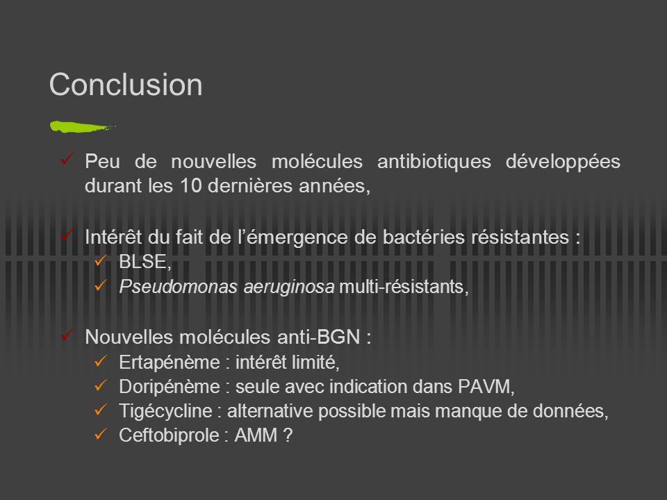 Conclusion Peu de nouvelles molécules antibiotiques développées durant les 10 dernières années,
