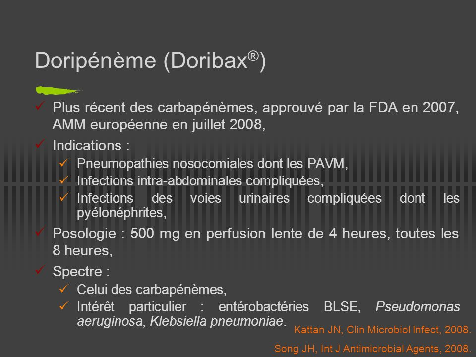 Doripénème (Doribax®)