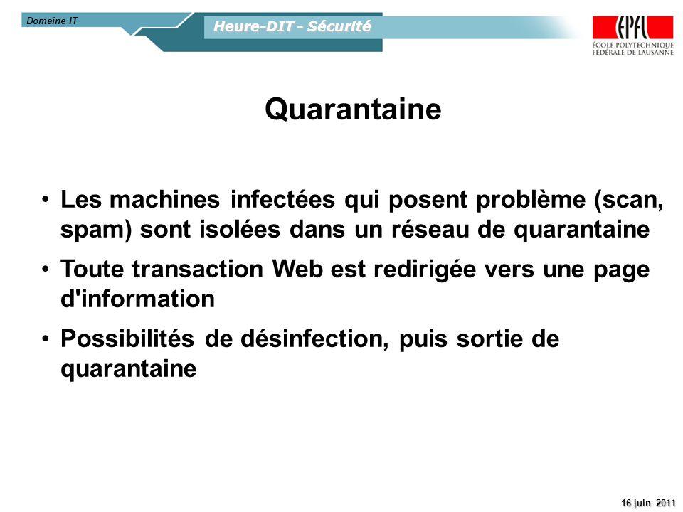 Domaine IT Heure-DIT - Sécurité. Quarantaine. Les machines infectées qui posent problème (scan, spam) sont isolées dans un réseau de quarantaine.