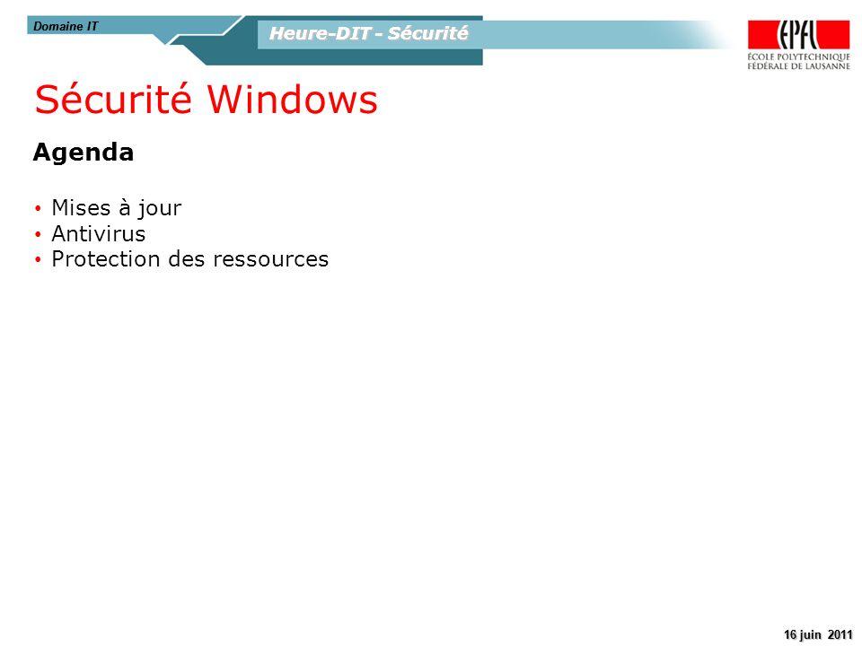 Sécurité Windows Agenda Mises à jour Antivirus