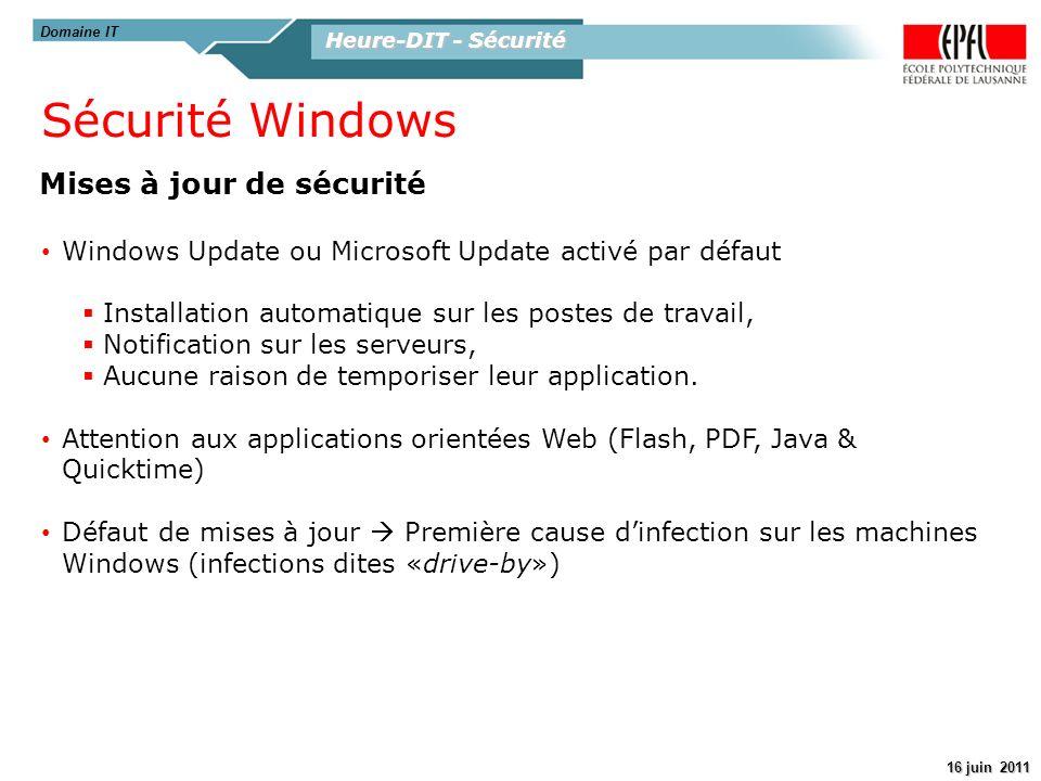 Sécurité Windows Mises à jour de sécurité