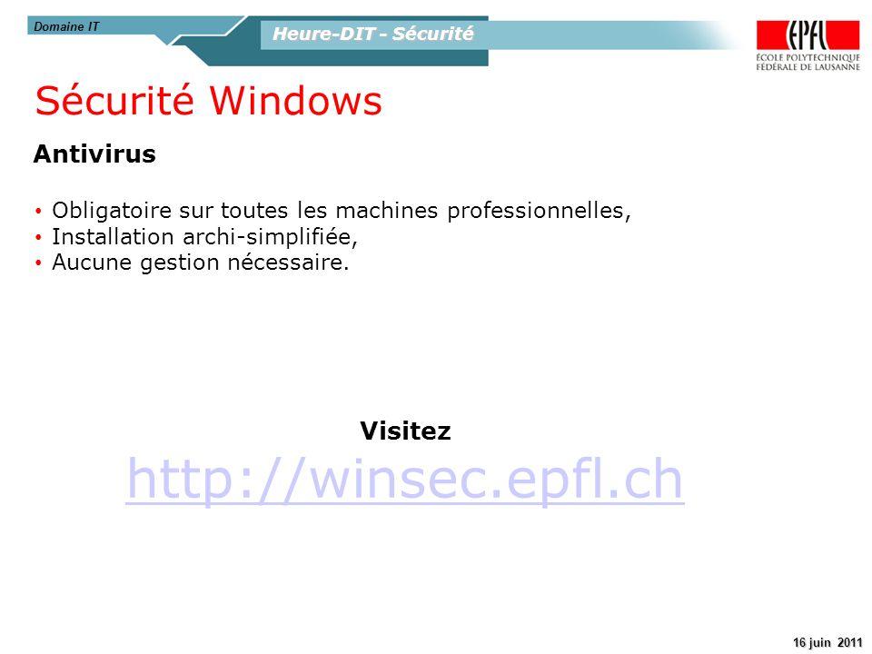 http://winsec.epfl.ch Sécurité Windows Antivirus Visitez