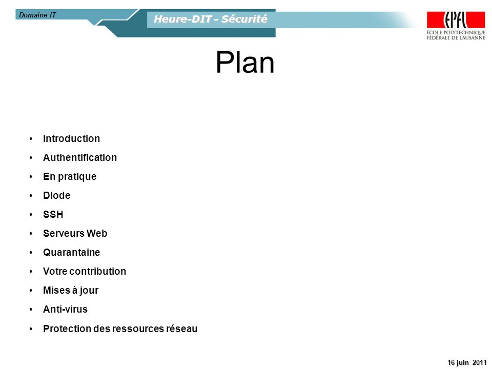 Plan Heure-DIT - Sécurité Introduction Authentification En pratique
