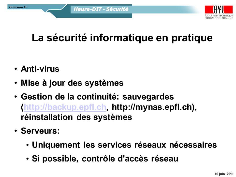 La sécurité informatique en pratique