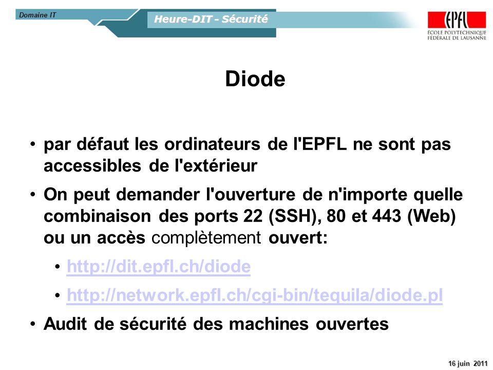 Domaine IT Heure-DIT - Sécurité. Diode. par défaut les ordinateurs de l EPFL ne sont pas accessibles de l extérieur.