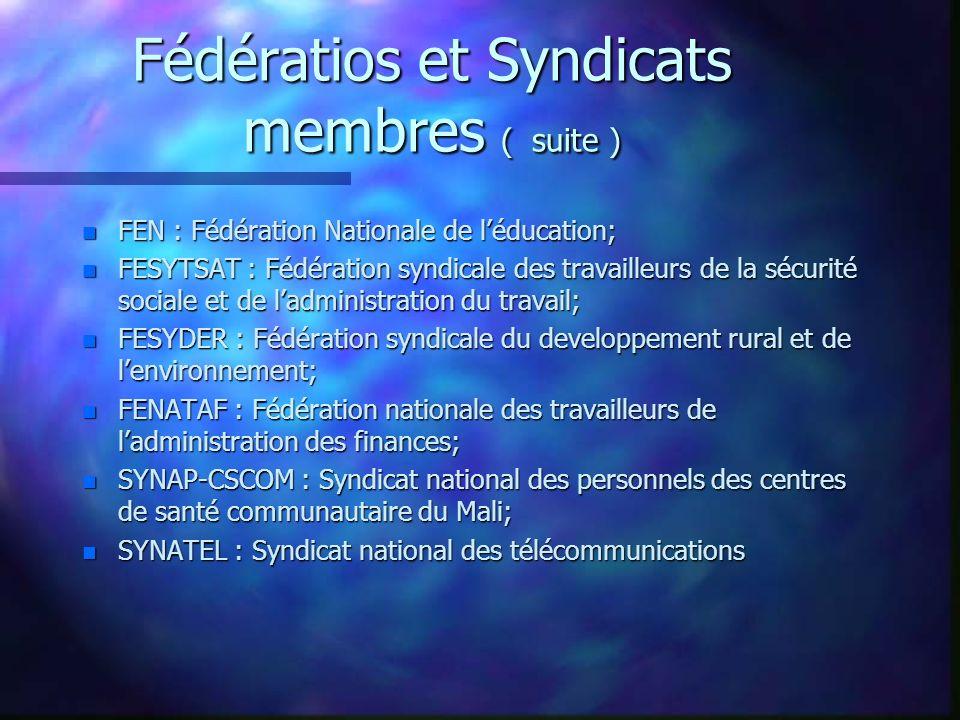 Fédératios et Syndicats membres ( suite )