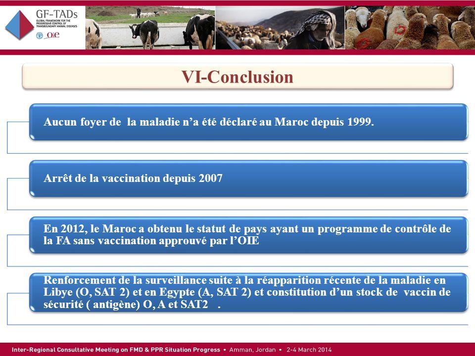 VI-Conclusion Aucun foyer de la maladie n'a été déclaré au Maroc depuis 1999. Arrêt de la vaccination depuis 2007.