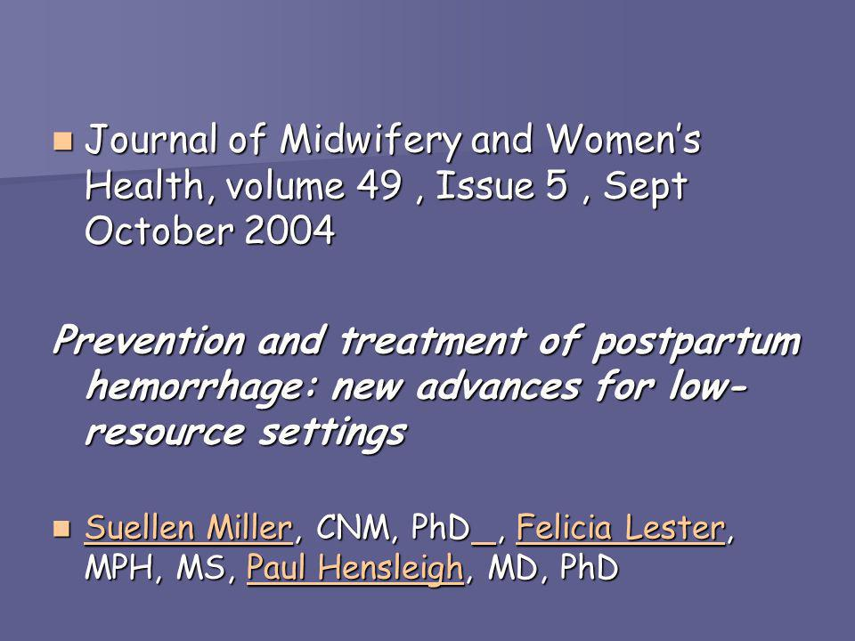 Journal of Midwifery and Women's Health, volume 49 , Issue 5 , Sept October 2004
