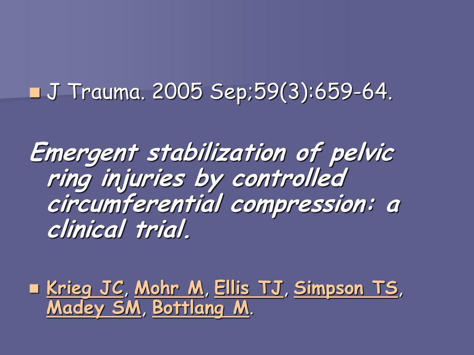 J Trauma. 2005 Sep;59(3):659-64. Emergent stabilization of pelvic ring injuries by controlled circumferential compression: a clinical trial.