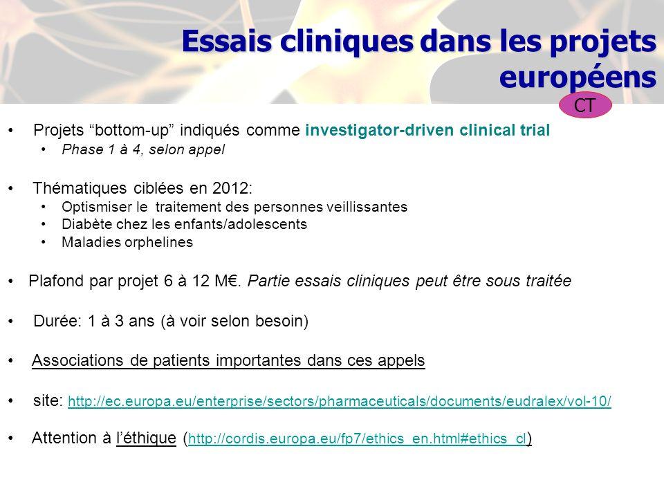 Essais cliniques dans les projets européens