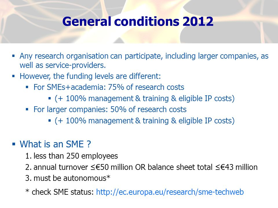 General conditions 2012 What is an SME
