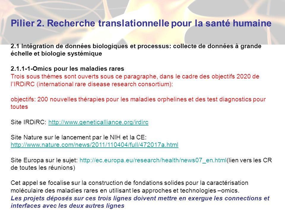 Pilier 2. Recherche translationnelle pour la santé humaine